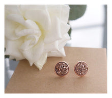 Rose Gold Druzy Earrings | Rose Gold Druzy | Stud Earrings | 12mm Studs