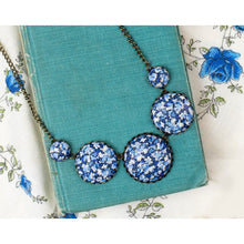 Dusky Blue and Navy statement button necklace in Liberty 'Pepper' print