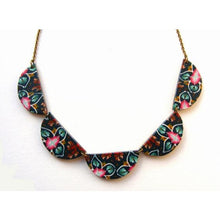 Sky Blue, fuschia and rust scallop bunting necklace