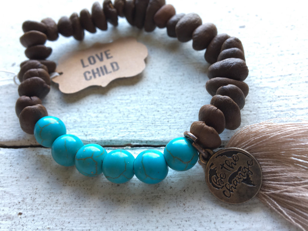 Coffee Beans Bracelet with Turquoise Chips
