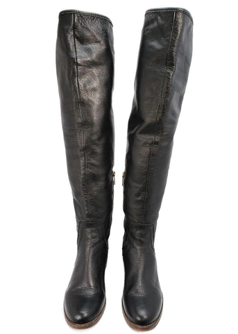 Coach over the knee riding black leather boots *size 5.5 B*