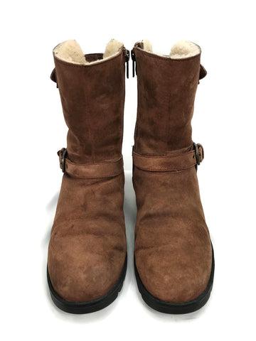 UGG Australia Western Suede Leather Boots Sheepskin Chocolate sn 1003883 Women's 7