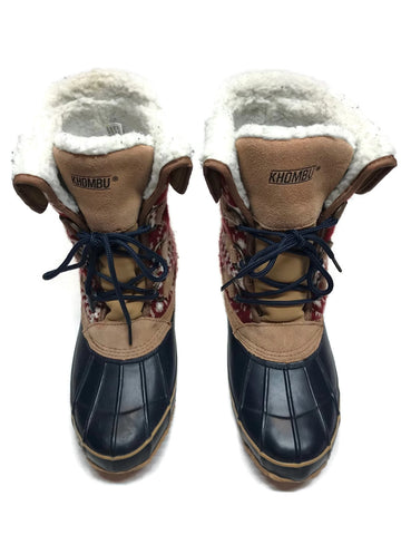 Khombu Jenna Fleece Lined Mid Calf Winter Boots, Navy/Tan Size 8M