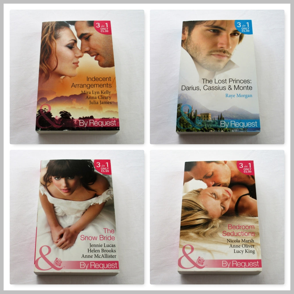 Twelve Mills & Boon romance novels in four paperback books.