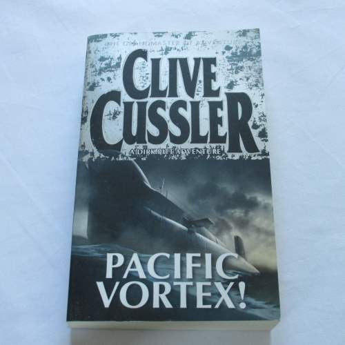 Pacific Vortex! by Clive Cussler. A paperback action & adventure novel.