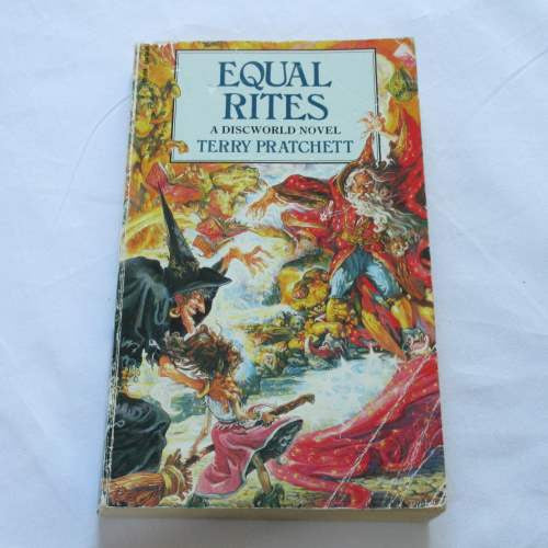 Equal Rites by Terry Pratchett. A paperback Fantasy novel.
