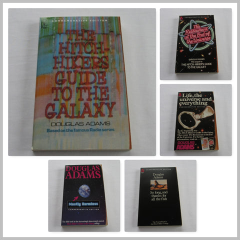 Douglas Adams The Hitchhikers Guide - 5 paperback book collection.