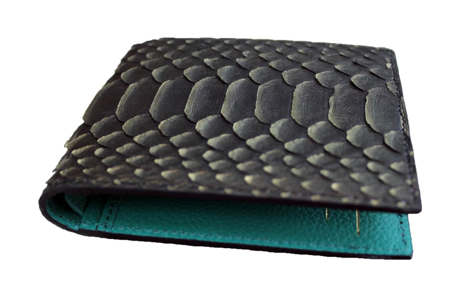 Gold Tipped Python Green Wallet
