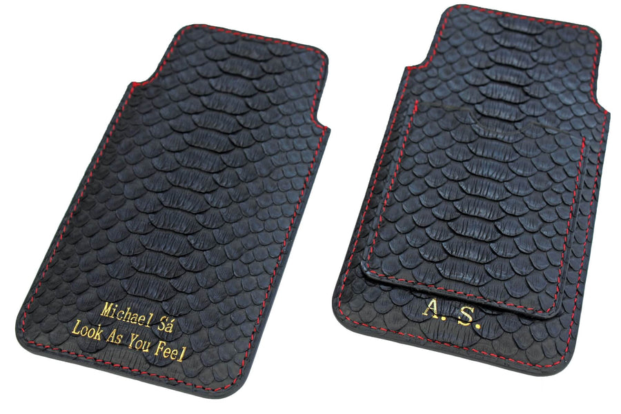 Personalized Black Python iPhone Sleeve With Card Slot