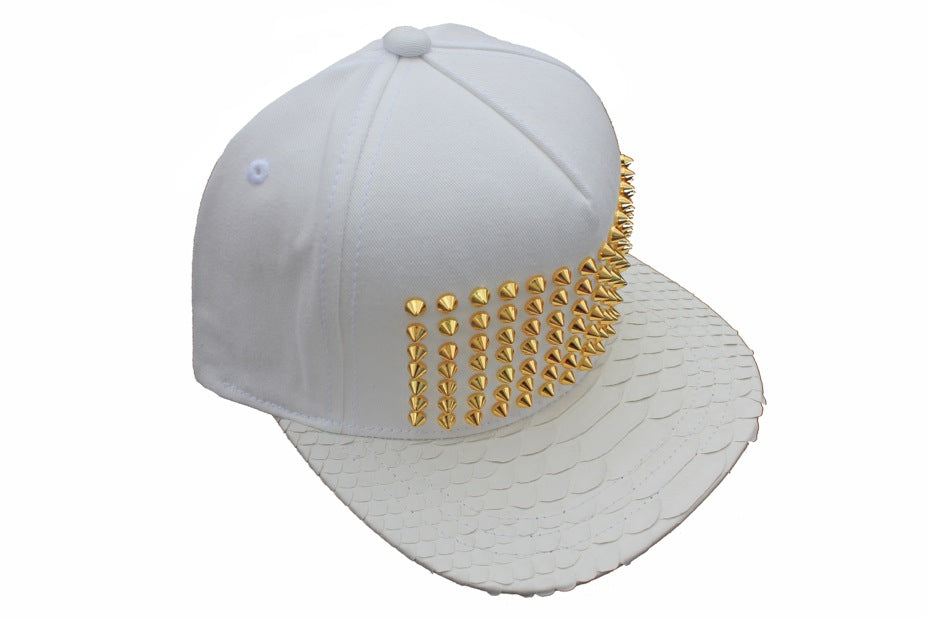 Gold All White Everything Studded Strapback