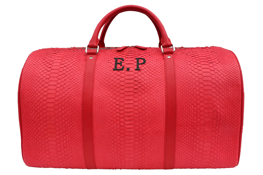 Initialed Red Python Duffle Bag