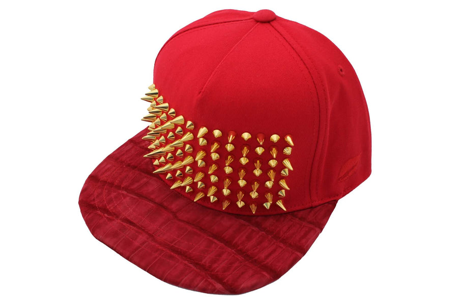 Staggered Studded Suede Croc Strapback