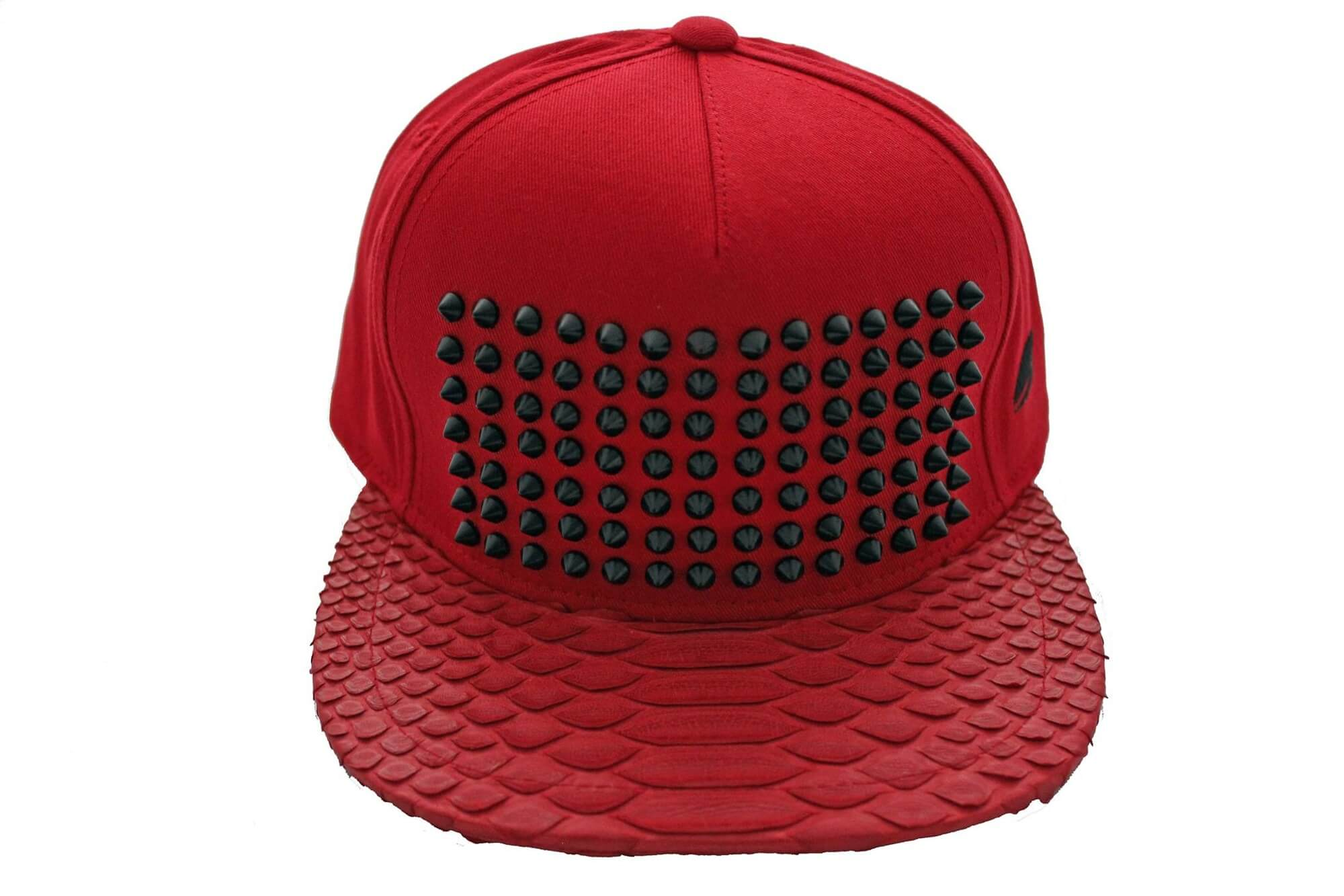 Red On Red Studded Python Snapback