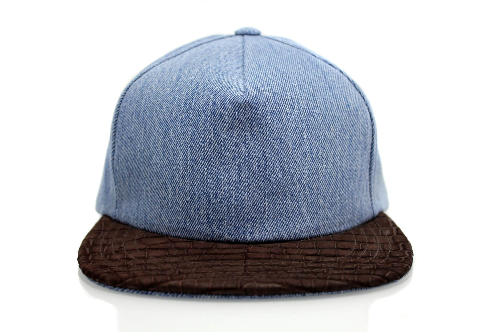 Brown Suede Croc Denim Strapback