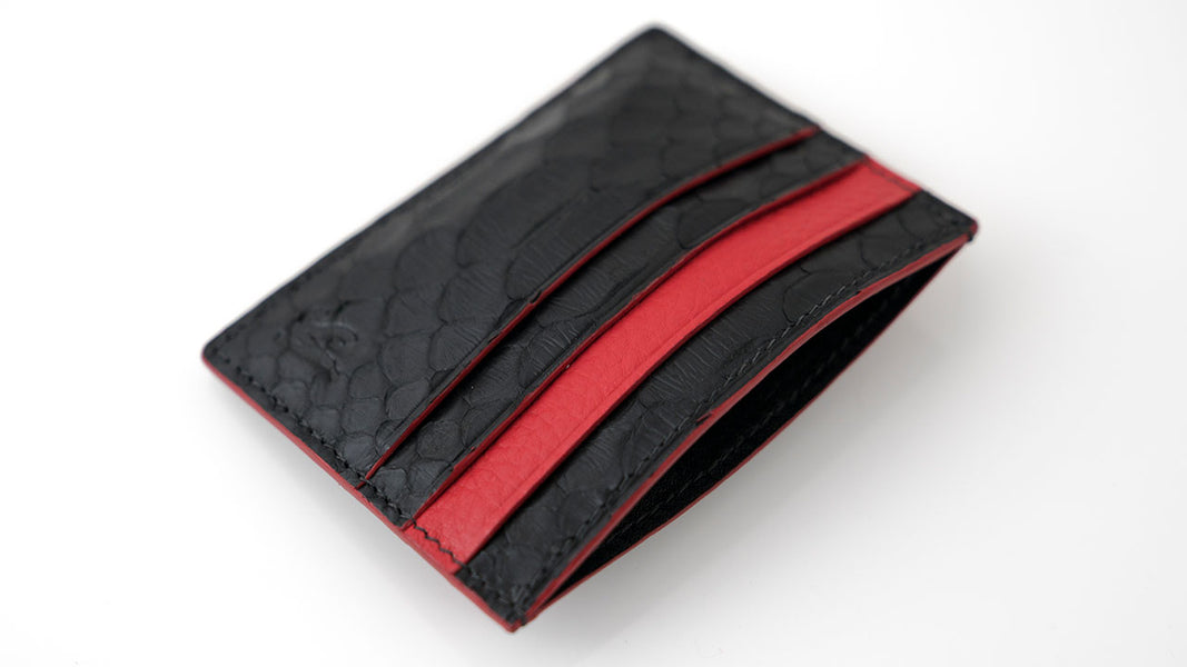 Black Python & Red Leather Card Holder