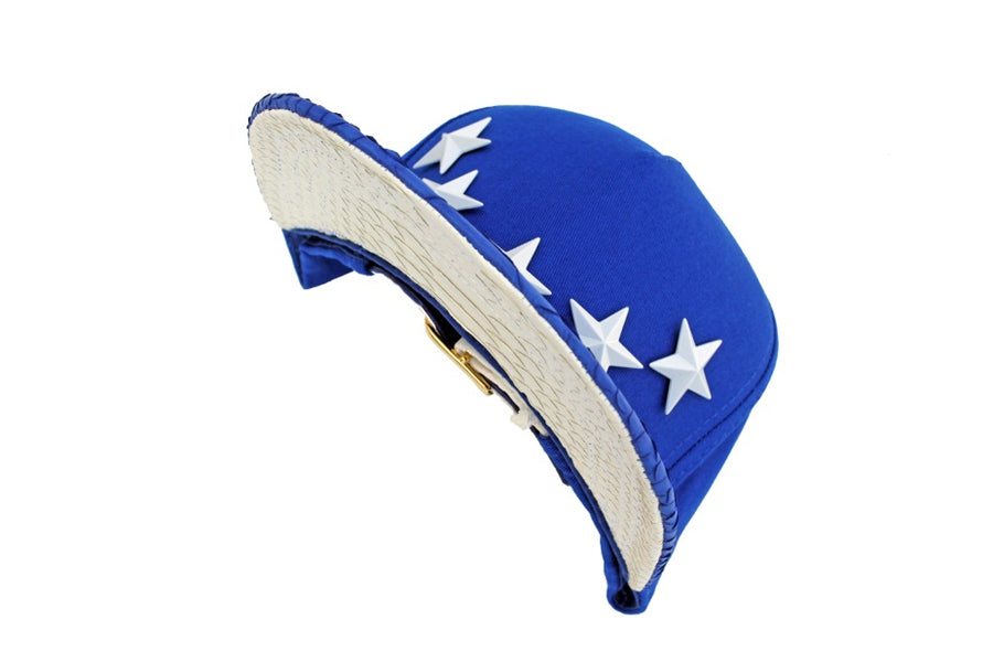 Royal Blue x White Python Star Studded Strapback