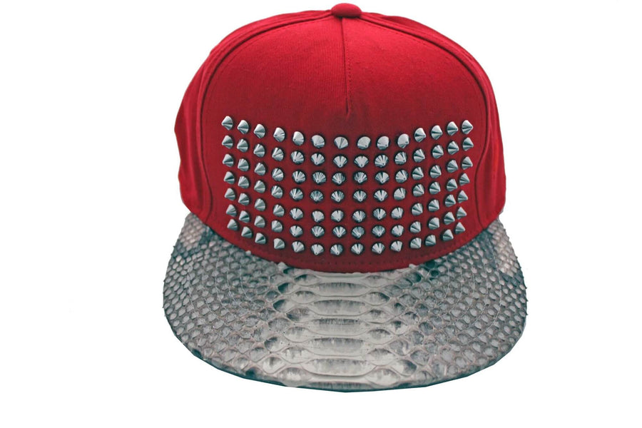 Red Natural Python Studded Strapback
