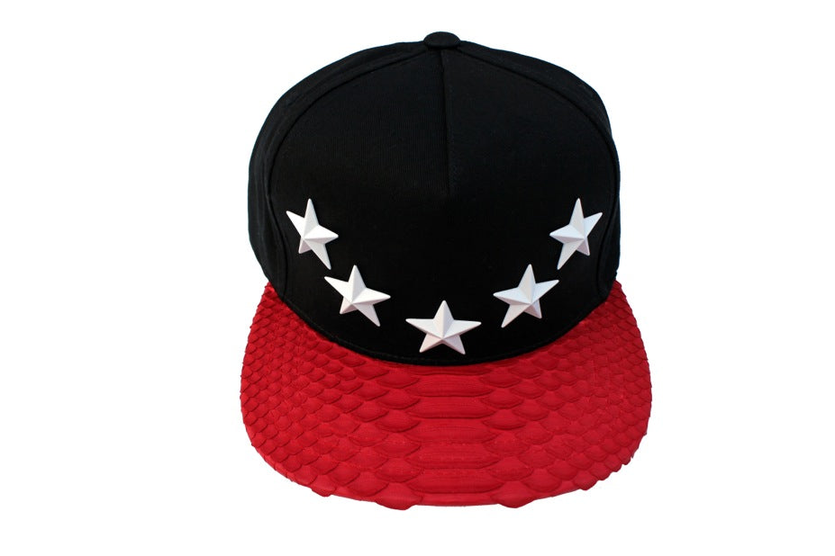 Red Natural Python Star Studded Strapback