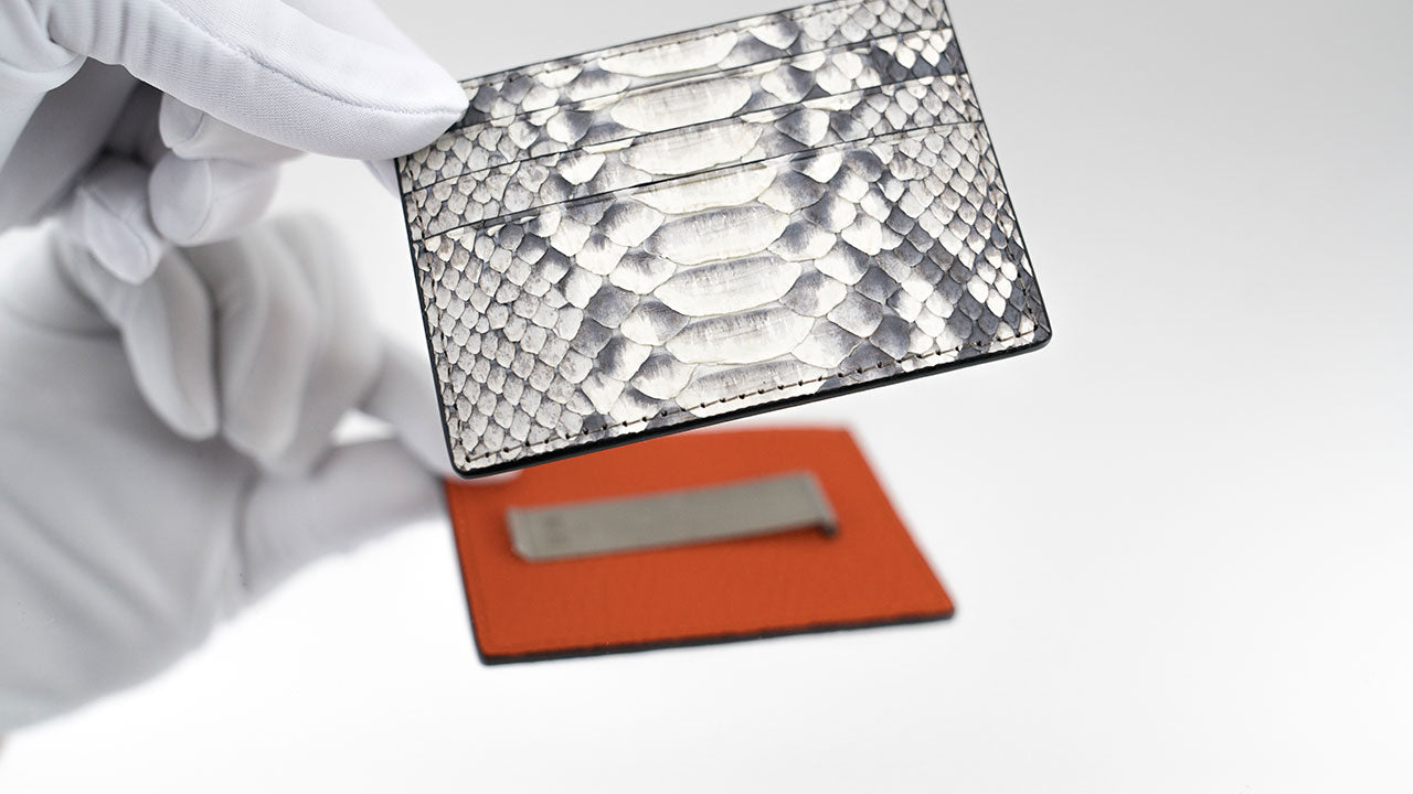 Customized Natural Python Skin & Orange Leather Money Clip Card Holder
