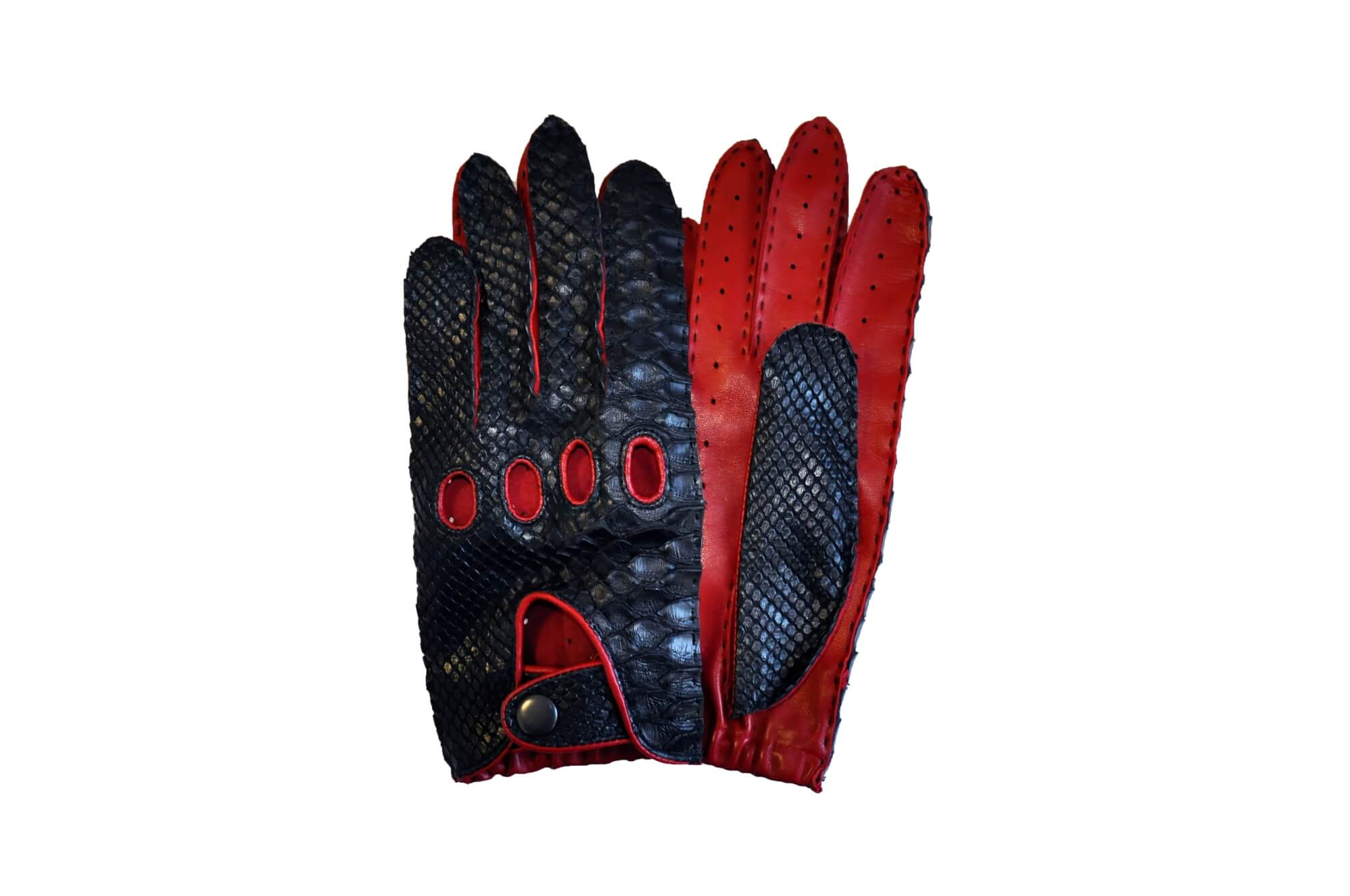 Red Leather Python Gloves