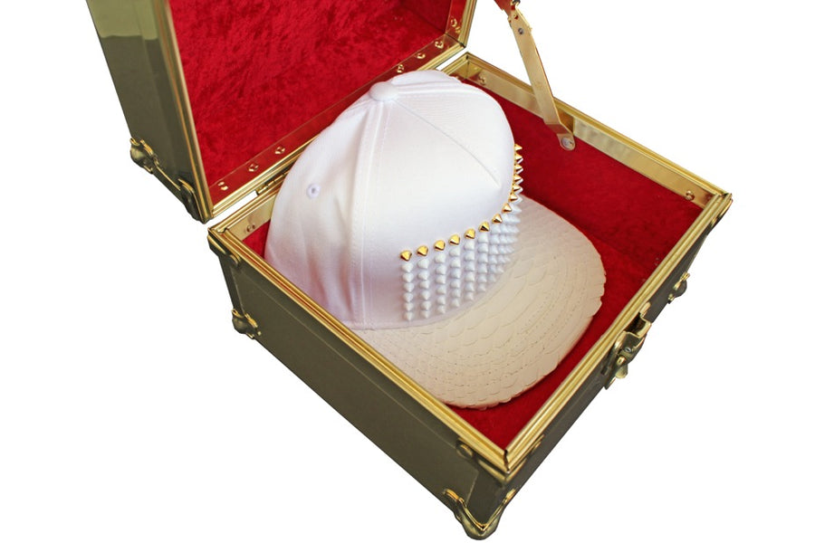 White On White Studded Python Strapback