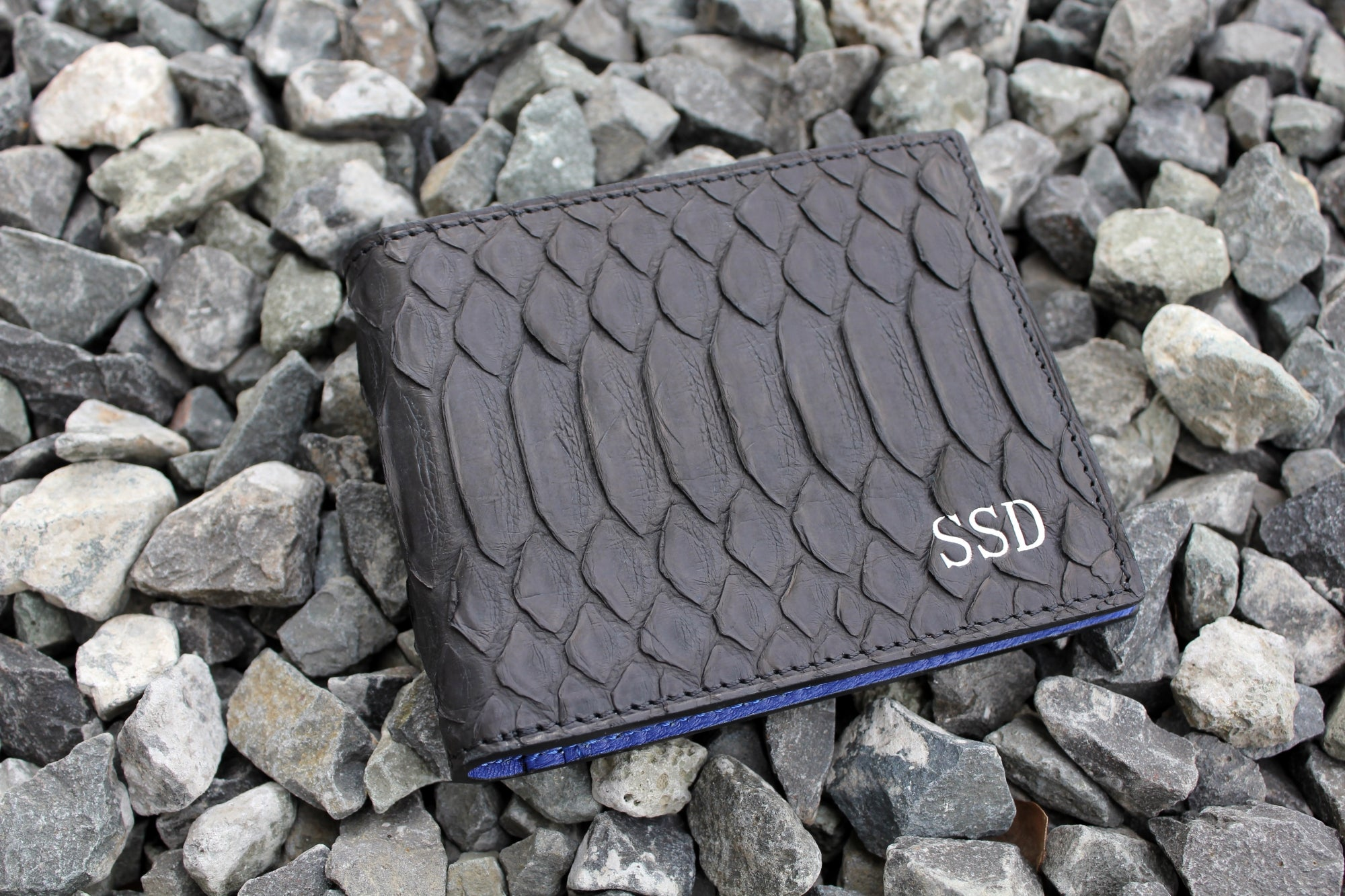Black Python Wallet  Blue Leather