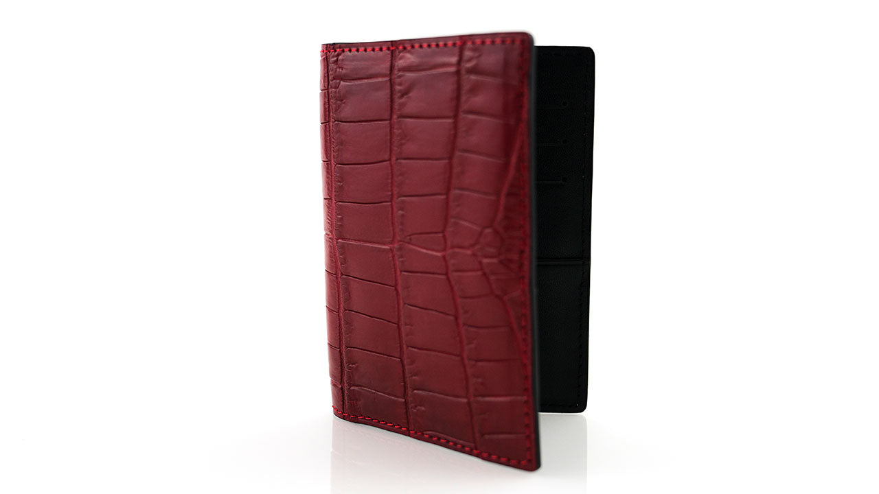Red Crocodile Skin Card Case