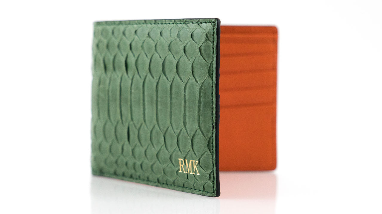 Customized Green Leather Wallet _ Orange Leather Lining