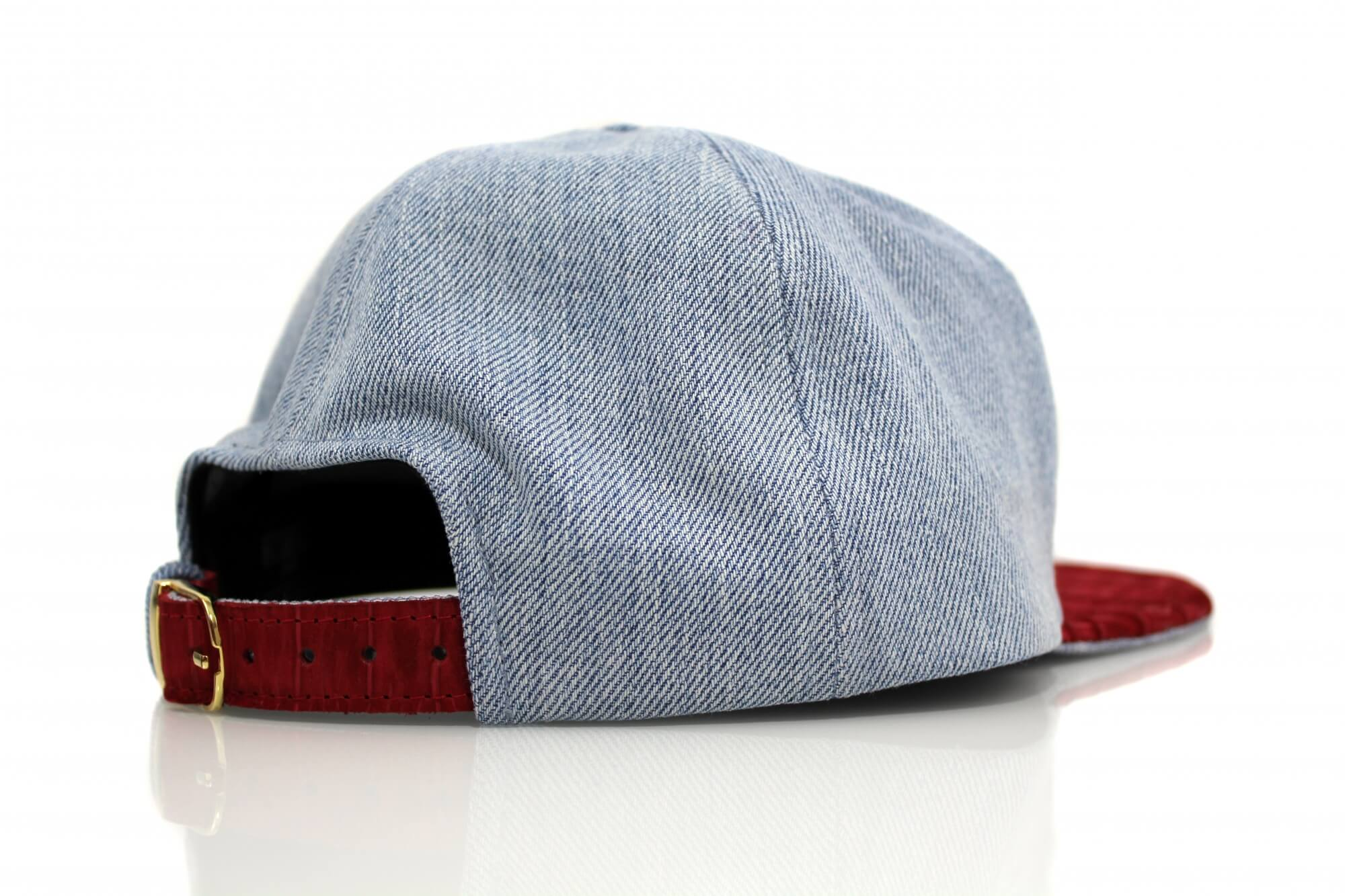 Red Suede Croc Denim Strapback