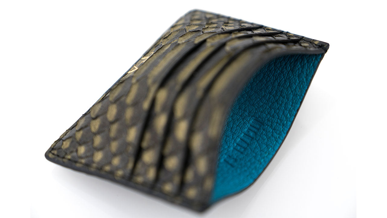 Gold Tipped Python Blue Leather Lining Card Holder