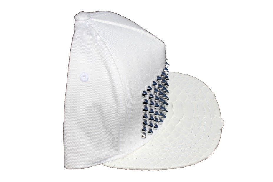 All White Everything Python Studded Strapback