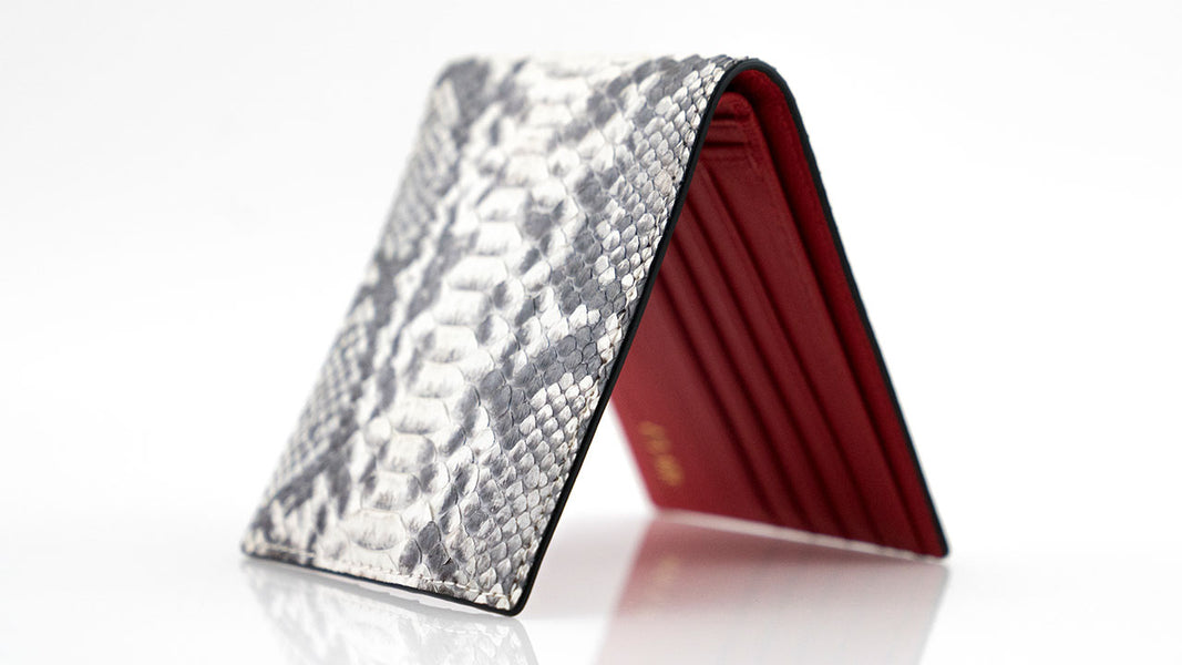 Customized Natural Python Skin Wallet Red Leather Lining