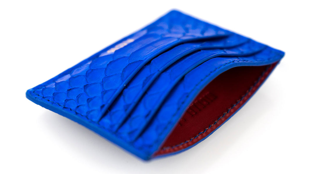 Customized Blue Python Money Clip Card Holder