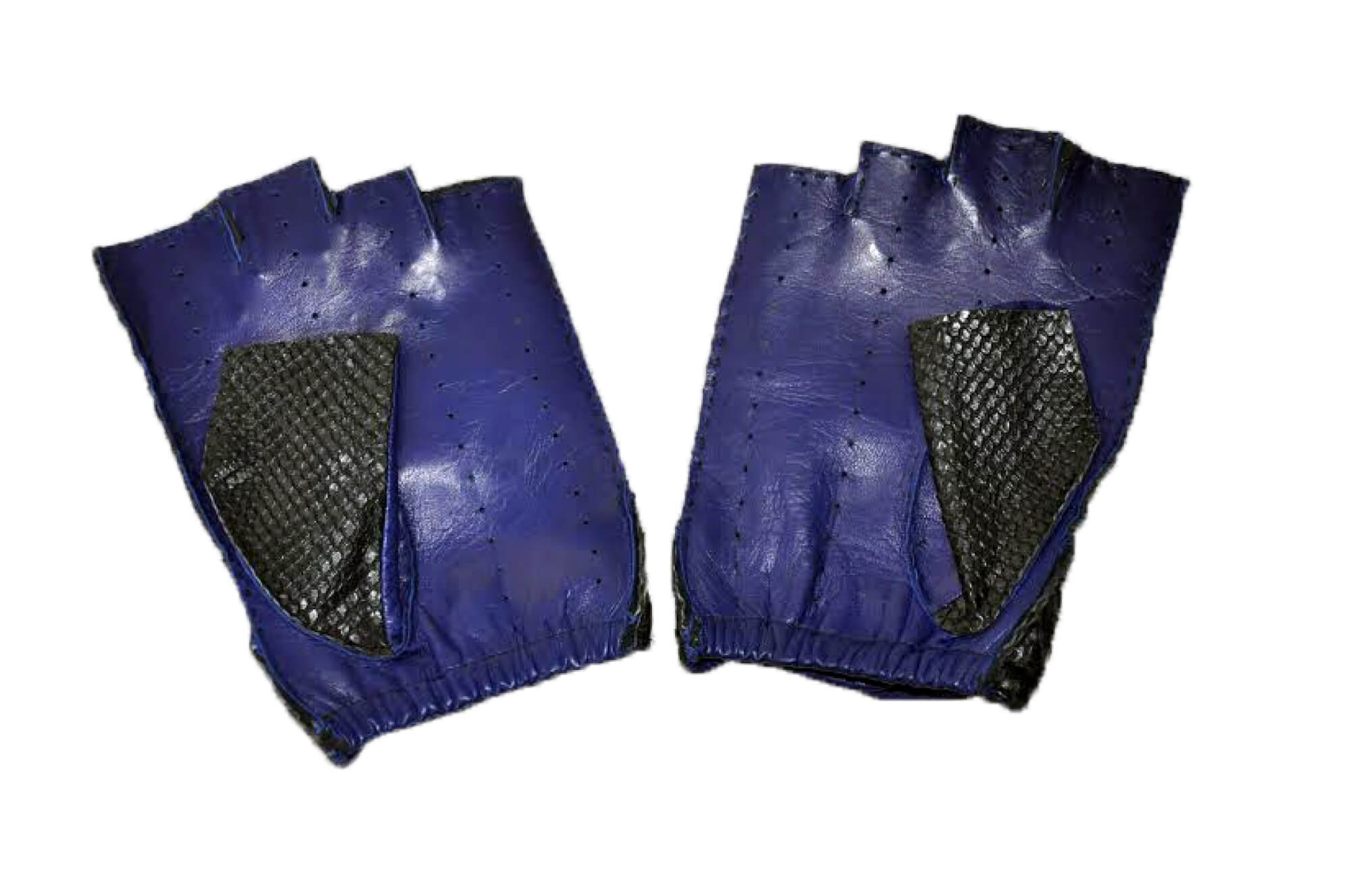 Python Skin Blue Leather Driving Gloves