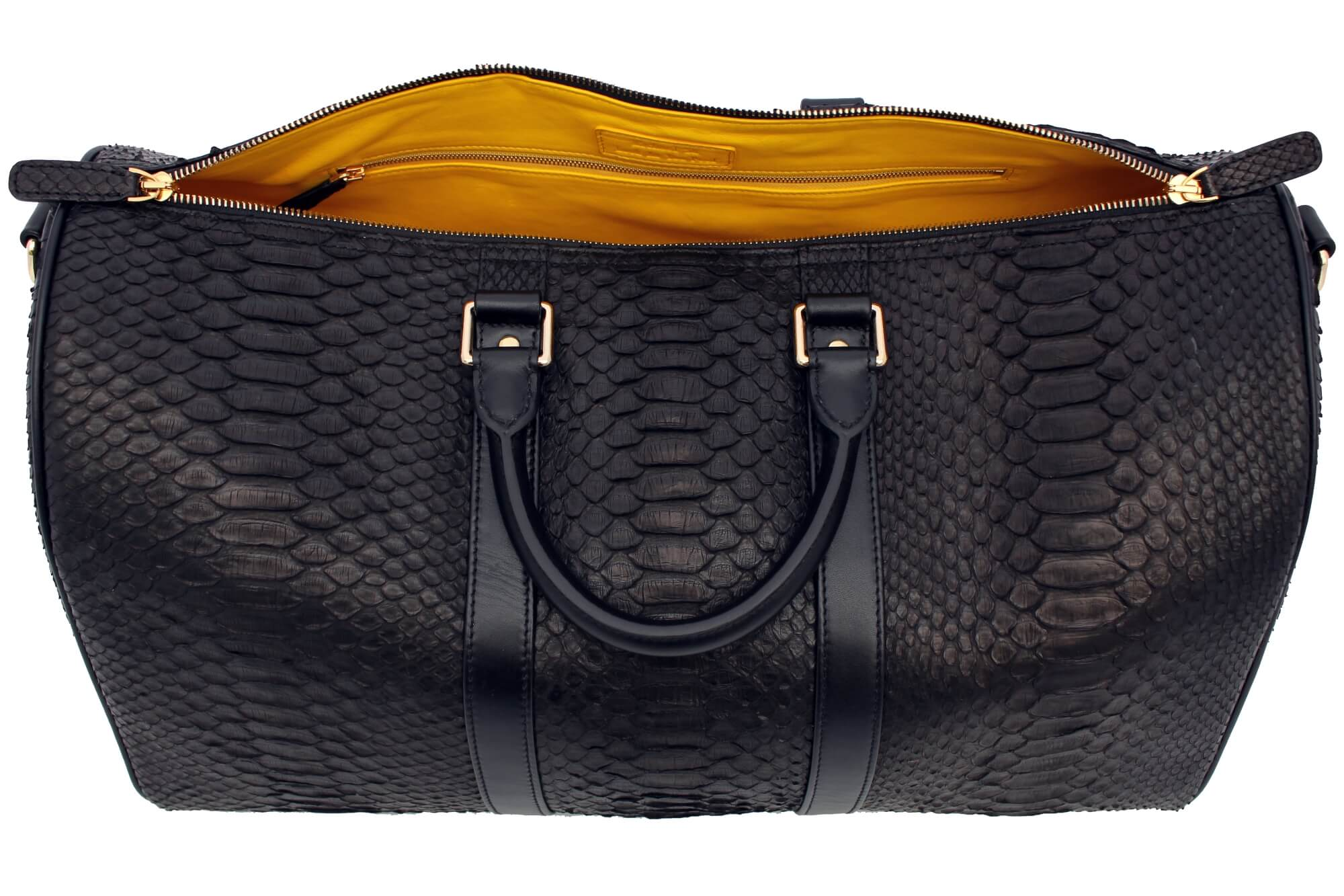 Yellow Leather Python Duffle Bag