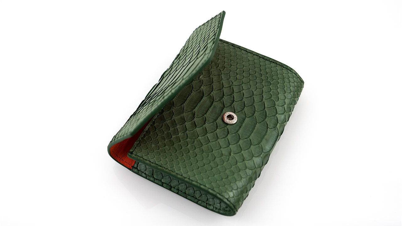 Green Python Envelope Wallet Orange Leather Lining