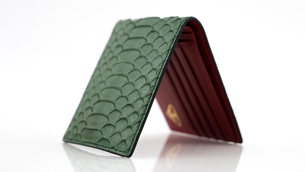 Customized Green Leather Wallet Red Leather Lining