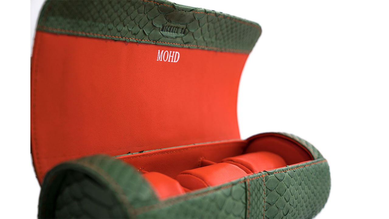 Customized Green Python Watchroll Orange Leather Lining