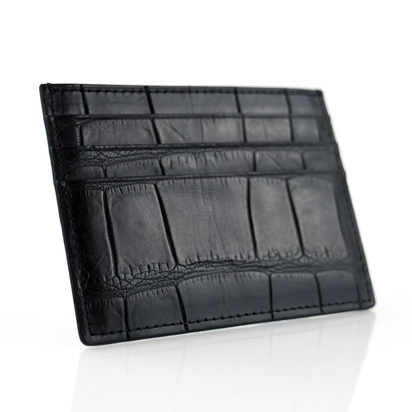 Matte Black Crocodile Skin Card Holder