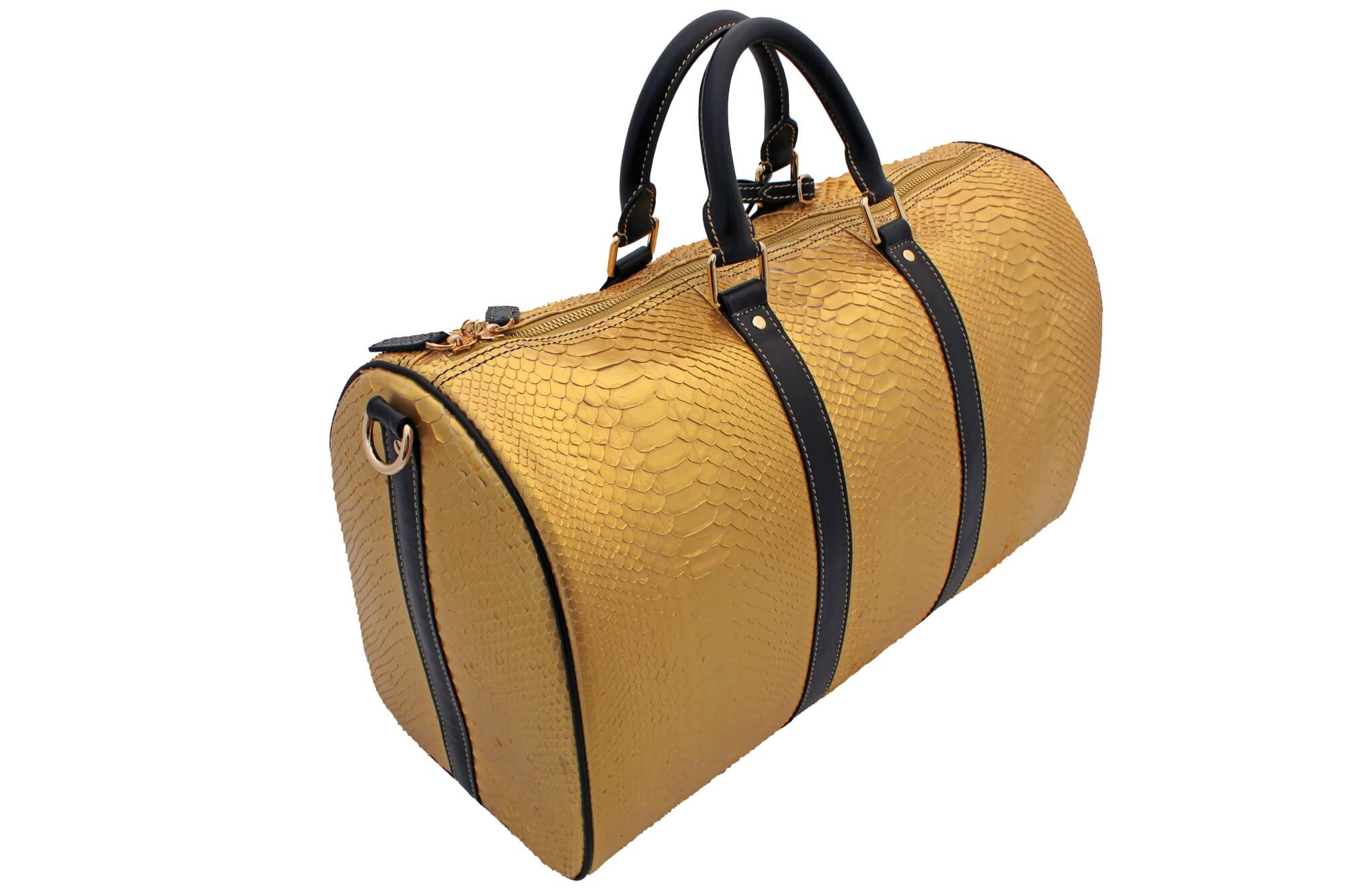 Gold Plated Python Skin Duffle Bag
