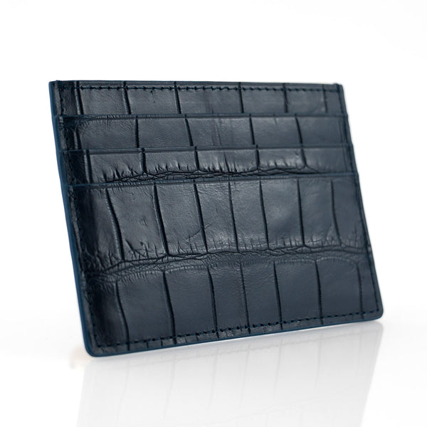 Navy Crocodile Skin Card Holder
