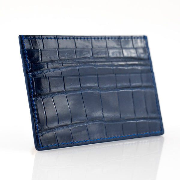 Denim Crocodile Skin Card Holder