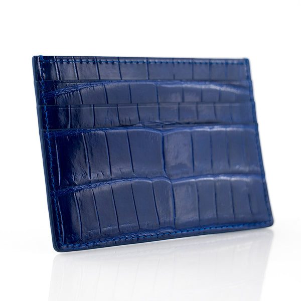 Cobalt Crocodile Skin Card Holder