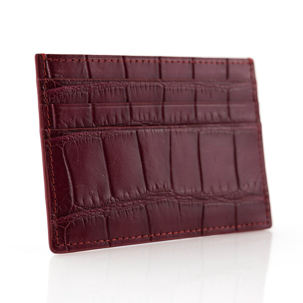 Burgundy Crocodile Skin Card Holder