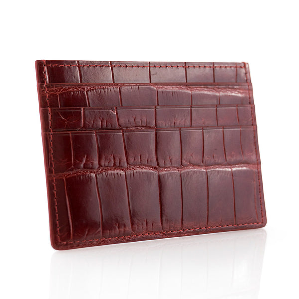 Vermillion Crocodile Skin Card Holder