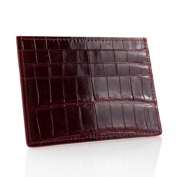 Wine Crocodile Skin Card Holder