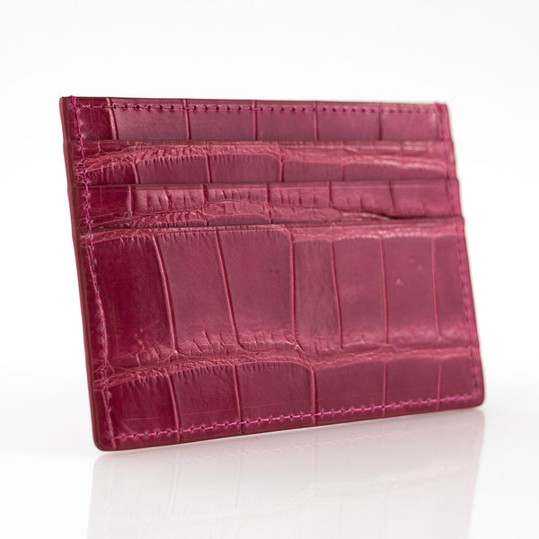 Hibiscus Crocodile Skin Card Holder