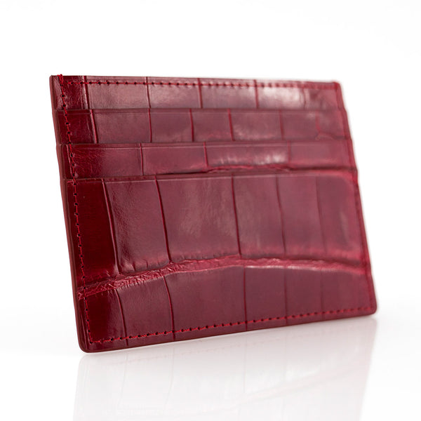 Maroon Crocodile Skin Card Holder