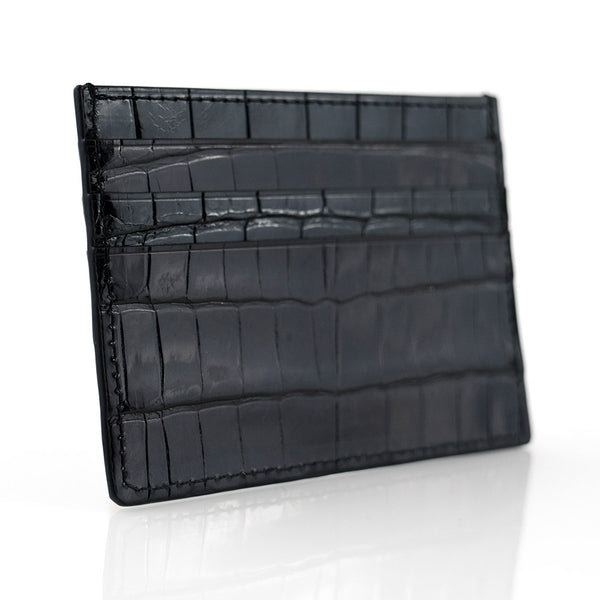 Glazed Black Crocodile Skin Card Holder