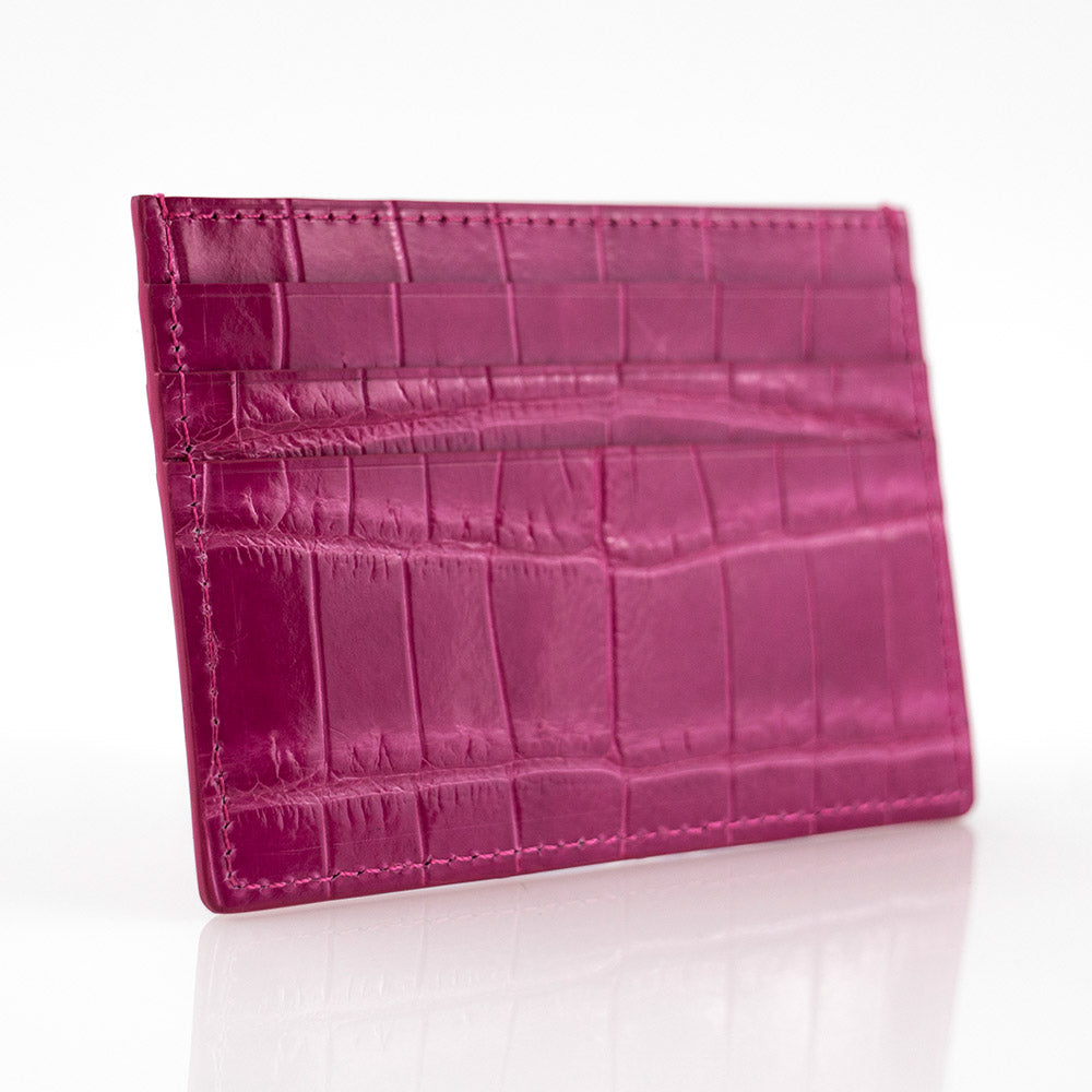 Magenta Crocodile Skin Card Holder